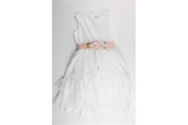 abito cerimoniale giromanica tinta unita cintura in contrasto con applicazioni rose AMAYA | Abiti | 311600BIANCO