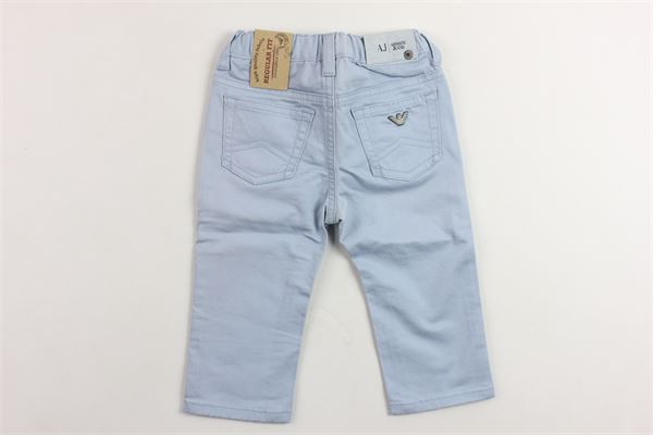 pantalone 5 tasche tinta unita girovita regolabile ARMANI | Pantaloni | 0DJ029CCELESTE