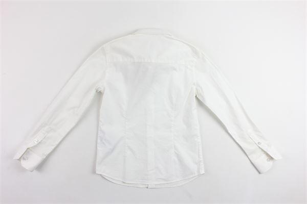camicia manica lunga tinta unita con logo ARMANI | Camicie | 3Y4C214NDTZBIANCO