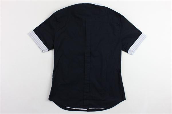 camicia mezza manica tinta unita collo rigato ARMANI | Camicie | R4C121FA5ARMBLU