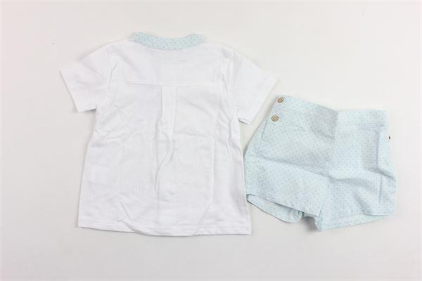 completo camicia in cotone collo coreano più shorts BABIDU | Completi | 42407BIANCO