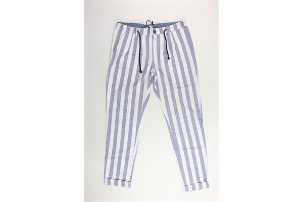 pantalone elastico rigato rigato in cotone BERNA | Pantaloni | BRNS9012PABIANCO