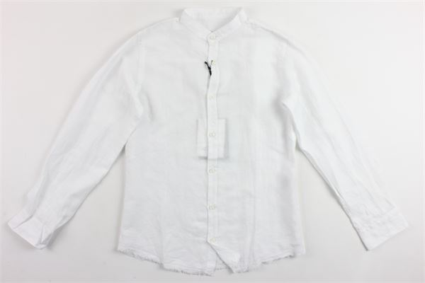 camicia manica lunga tinta unita collo coreano BERNA | Camicie | BRNS9082CABIANCO