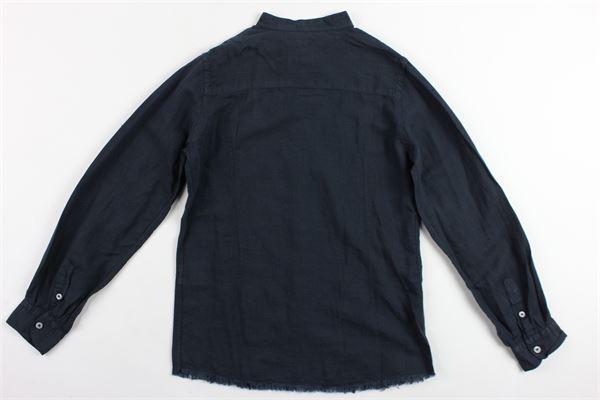 camicia manica lunga tinta unita collo coreano BERNA | Camicie | BRNS9082CABLU