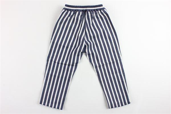 pantalone rigato in cotone tasca america elastico in vita BERWICH | Pantaloni | WMPA02BIANCO