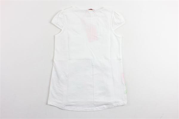 t-shirt mezza manica modello lungo con velo e ricami BLUMARINE | T-shirts | 427TS70BIANCO