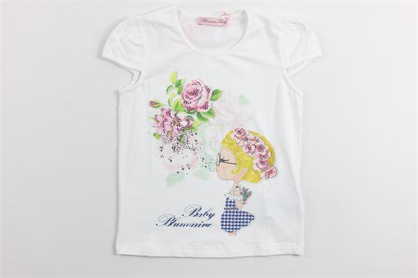 t-shirt mezza manica tn stampa e brillantini BLUMARINE | T-shirts | 427TS75BIANCO
