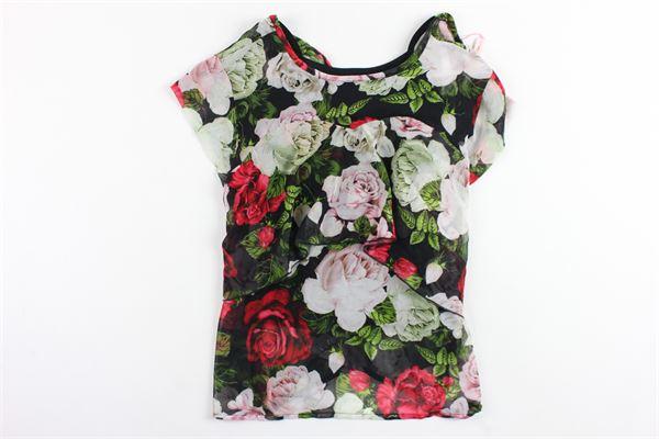 camicia lunga mezza manica stampa a fiori con canotta BLUMARINE | Camicie | MBL0849NERO