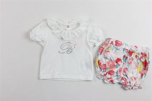 completo t-shirt più shorts con stampa BLUMARINE | Completi | MBL1109BIANCO