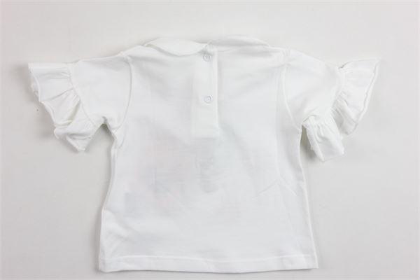 t-shirt mezza manica tinta unita stampa brillantini e rose BLUMARINE | T-shirts | MBL1219BIANCO