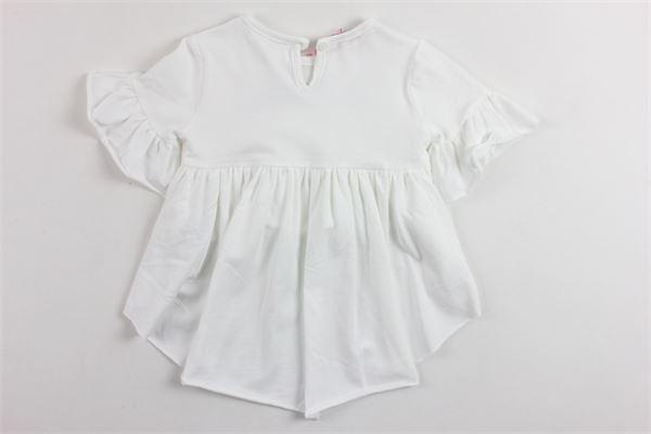 t-shirt mezza manica corta davanti lunga dietro con rouches e stampa brillantini BLUMARINE | T-shirts | MBL1441BIANCO