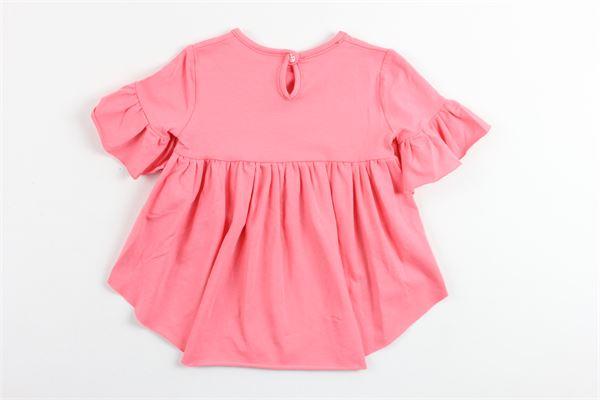 t-shirt mezza manica corta davanti lunga dietro con rouches e stampa brillantini BLUMARINE | T-shirts | MBL1441CORALLO