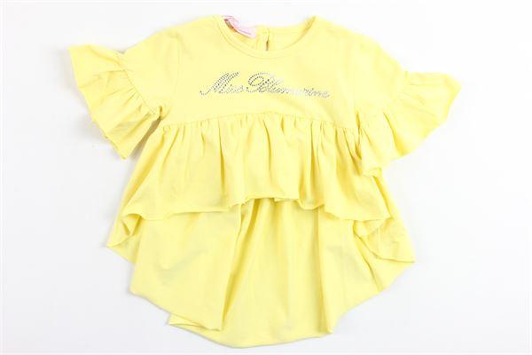 t-shirt mezza manica corta davanti lunga dietro con rouches e stampa brillantini BLUMARINE | T-shirts | MBL1441GIALLO