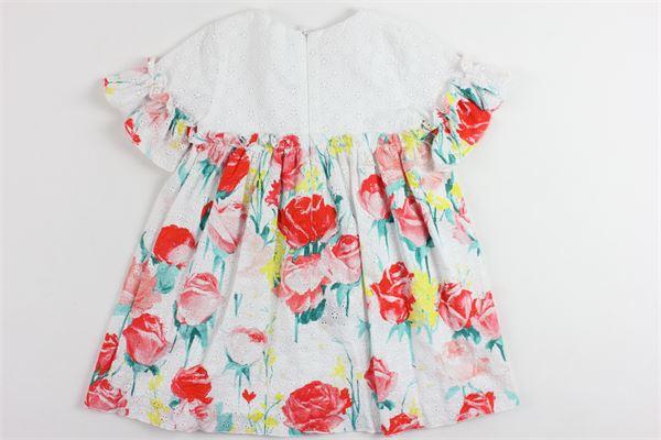 abito mezza manica con fiori in ricamo BLUMARINE | Abiti | MBL1448BIANCO