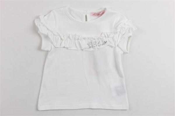 t-shirt mezza manica tinta unita con rouches e stampa brillantini BLUMARINE | T-shirts | MBL1489BIANCO