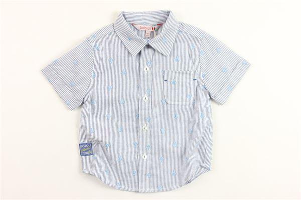 camicia mezza manica rigata in cotone microfantasia BOBOLI | Camicie | 307112BLU