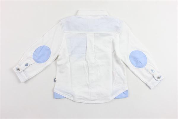 camicia tessuto polo tinta unita con toppe in contrasto BOBOLI | Polo | 716060BIANCO