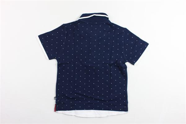 polo mezza manica a pois con finta camicia BOBOLI | Polo | 737412BLU