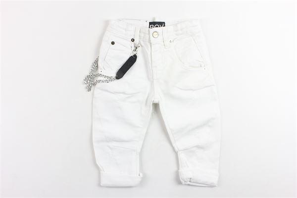 pantalone in denim tinta unita con applicazione e stampa BOY LONDON | Pantaloni | PJBL181104BBIANCO