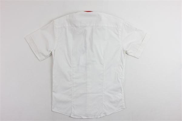 camicia mezza manica tinta unita con papillion e profili in contrasto BRIAN RUSH | Camicie | 000333ROSSO