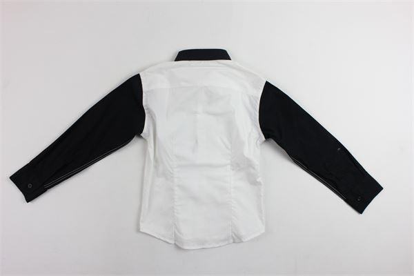 camicia manica lunga con papillion e maniche in contrasto BRIAN RUSH | Camicie | 00033BIANCO