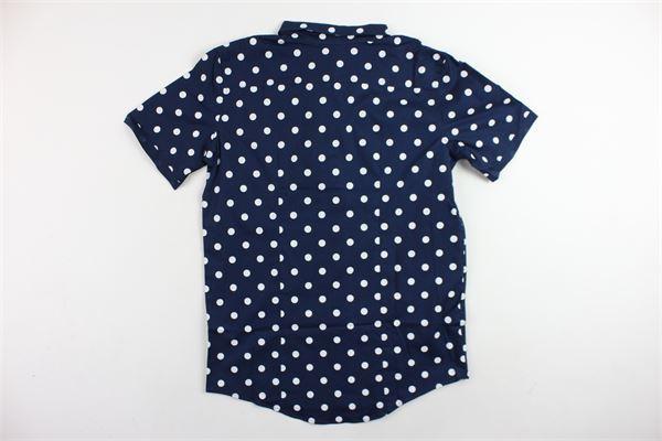 camicia mezza manica tinta unita pois in contrasto BRIAN RUSH | Camicie | 18043BLU