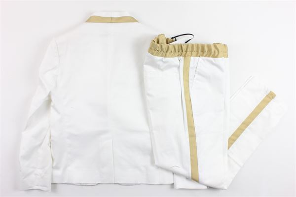 completo cerimonia giacca più pantalone tinta unita profili in contrasto BRIAN RUSH | Completi | 9070328BIANCO