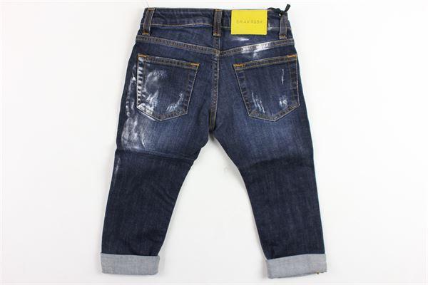jeans 5 tasche tinta unita con strappi e fantasia in pittura BRIAN RUSH | Jeans | MC044BLU