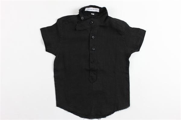 camicia mezza manica in cotone tinta unita collo coreano BRIAN RUSH | Camicie | SC202NNERO