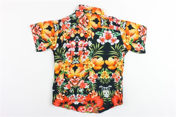 camicia mezza manica in cotone stampa fiori BRIAN RUSH | Camicie | SC208NERO