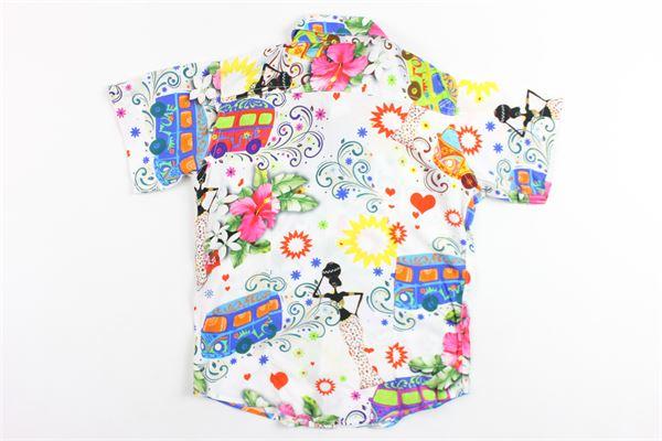 camicia mezza manica in cotone stampa fantasia BRIAN RUSH | Camicie | SC214BIANCO