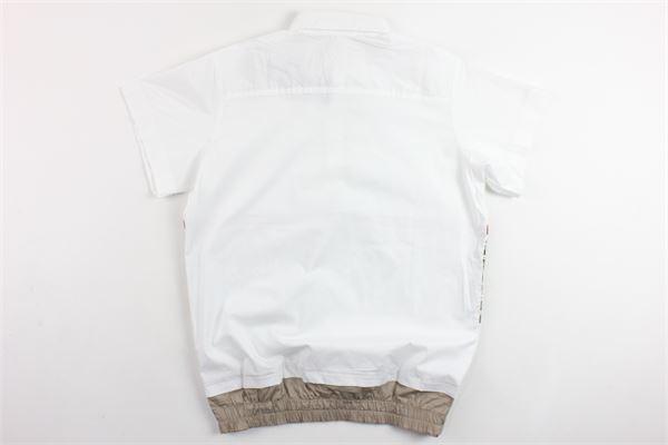 camicia mezza manica tinta unita profili in contrasto elastico in vita BRIAN RUSH | Camicie | SC234BIANCO