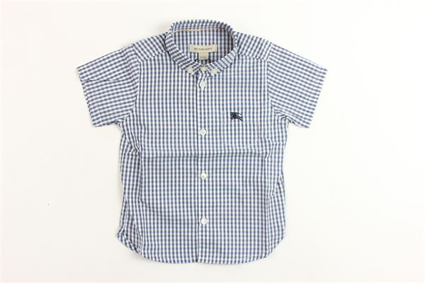 camicia mazza manica in cotone microfantasia quadri BURBERRY | Camicie | B05L57BLU