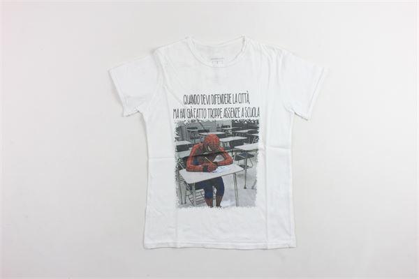 t-shirt mezza manica tinta unita con stampa BiSIBIGLIO | T-shirts | SPIDERMANBIANCO