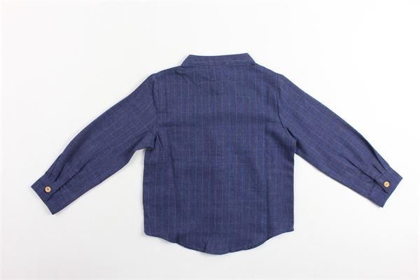 camicia tinta unita manica lunga in cotone microfantasia con taschino CARRE'MENT BEAU | Camicie | Y25153BLU