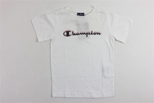 t-shirt mezza manica tinta unita con stampa CHAMPION | T-shirt | 304881BIANCO