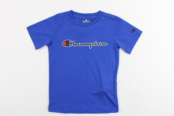 t-shirt mezza manica in cotone con stampa champion CHAMPION | T-shirt | 304975COBALTO