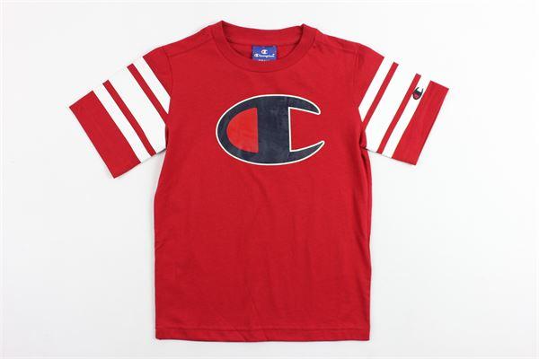 t-shirt mezza manica in cotone con stampa logo champion e profili in contrasto alle maniche CHAMPION | T-shirt | 304976ROSSO