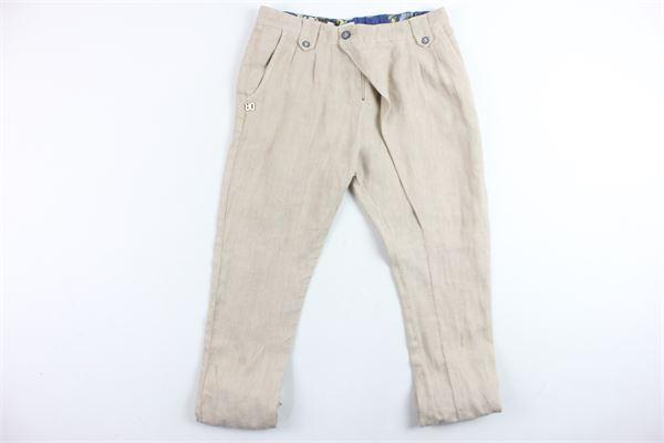 pantalone tinta unita tasca america 100%lino DANIELE ALESSANDRINI | Pantaloni | 1234P0009TBEIGE