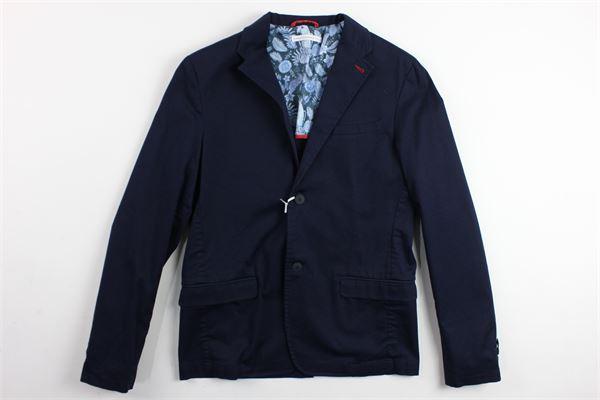 giacca tinta unita sfoderata con profili in contrasto al collo DANIELE ALESSANDRINI | Giacche | 123CJ0003TBLU