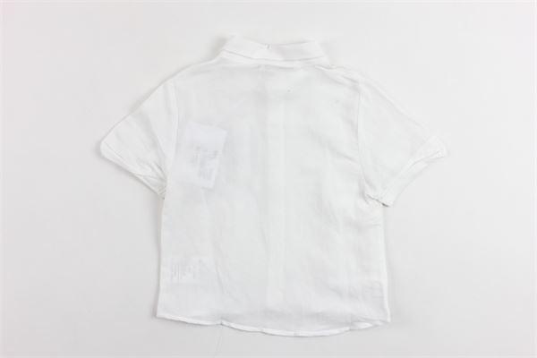 camicia mezza manica tinta unita con taschino in contrasto DANIELE ALESSANDRINI | Camicie | 1296C02309BIANCO