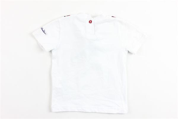 t-shirt tinta unita mazza manica  con papillion e profili in contrasto DANIELE ALESSANDRINI | T-shirts | 1296M0242BIANCO