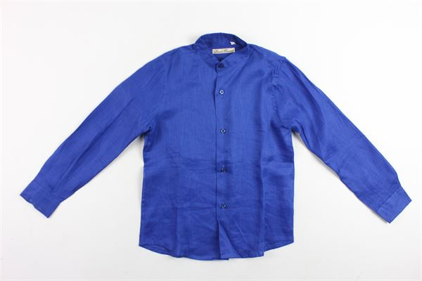 camicia manica lunga tinta unita collo coreano DAVID HAWARD | Camicie | CAMICIADAVIDHAWARD3COBALTO