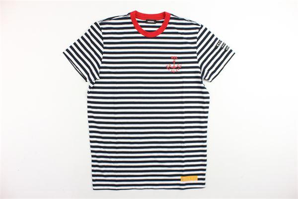t-shirt mezza manica rigata con stampa e profili in contrasto DIESEL | T-shirt | 00J3BGKYAMJBIANCO