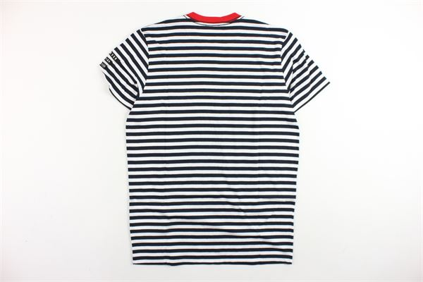 t-shirt mezza manica rigata con stampa e profili in contrasto DIESEL | T-shirts | 00J3BGKYAMJBIANCO