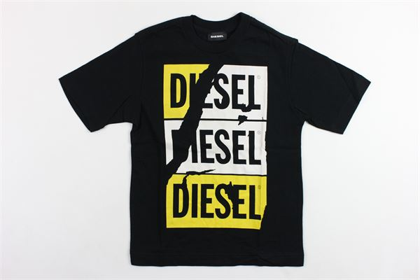 t-shirt mezza manica tinta unita con stampa DIESEL | T-shirt | 00J47UNERO