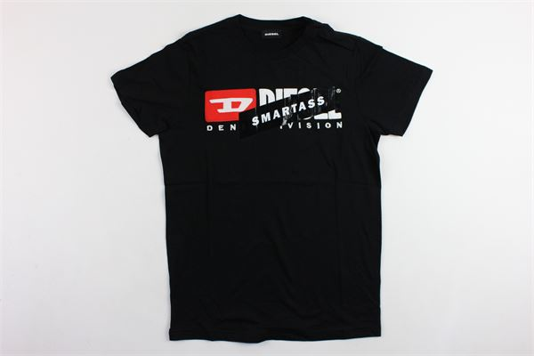 t-shirt mezza manica tinta unita con stampa in rilievo DIESEL | T-shirts | 00J4MANERO