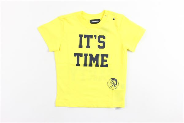t-shirt mezza manica tinta unita con stampa DIESEL | T-shirt | 00K1R9GIALLO