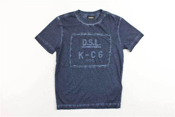 t-shirt mezza manica tinta unita con stampa DIESEL | T-shirts | 00T0C4BLU