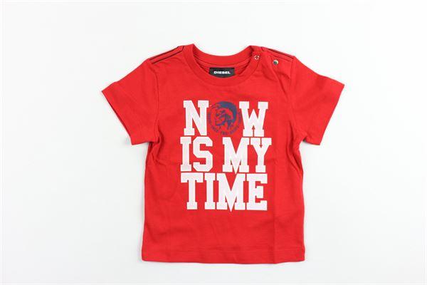 t-shirt mezza manica tinta unita con stampa DIESEL | T-shirt | R74299ROSSO